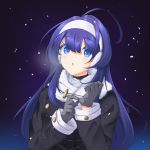 1girl ahoge alternate_costume black_coat blue_eyes blue_hair breasts chaesu coat cold earmuffs fur_trim gloves hairband headphones highres huge_ahoge long_hair looking_at_viewer medium_breasts orie_(under_night_in-birth) snow solo under_night_in-birth very_long_hair white_hairband winter winter_clothes winter_coat