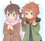 2girls bangs black_sweater blush brown_coat brown_hair closed_mouth coat commentary_request eyebrows_visible_through_hair fringe_trim fur-trimmed_jacket fur_trim green_eyes green_jacket hair_between_eyes hair_ornament hair_ribbon hands_together hands_up jacket koshigaya_natsumi long_hair long_sleeves media_factory multiple_girls niizato_aoi non_non_biyori open_clothes open_jacket orange_scarf own_hands_together pink_scarf ponytail ribbon scarf shika_(s1ka) side_ponytail silver_link sleeves_past_wrists smile sweater upper_body v-shaped_eyebrows white_ribbon you_gonna_get_raped
