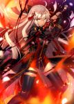 1girl ahoge arm_guards bangs black_bow black_coat bow breasts center_opening cleavage_cutout commentary_request dark_skin darkness dress eyebrows_visible_through_hair fate/grand_order fate_(series) fire flower_knot fuyuki_(neigedhiver) hair_bow high_collar highres holding holding_sword holding_weapon katana koha-ace large_breasts light_particles long_hair okita_souji_(alter)_(fate) okita_souji_(fate)_(all) red_dress serious solo sword tagme tassel thigh-highs tied_hair very_long_hair weapon white_eyes white_hair zettai_ryouiki