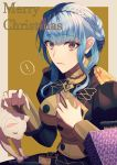! 1girl blue_hair braid brown_eyes cat closed_mouth crown_braid epaulettes fire_emblem fire_emblem:_three_houses garreg_mach_monastery_uniform highres long_sleeves marianne_von_edmund merry_christmas simple_background solo spoken_exclamation_mark twitter_username uniform upper_body watermark web_address yanagiba_kiriko