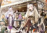 6+girls absurdres ahoge akashi_(azur_lane) animal_ears ark_royal_(azur_lane) artist_name azur_lane bag bangs beige_coat belfast_(azur_lane) beret black_dress black_hair blonde_hair blue_eyes blush boots breasts brown_legwear casual cat_ears chain choker coat collar crossed_legs cup day dress earrings eyebrows_visible_through_hair formidable_(azur_lane) frills gradient_hair green_hair grey_hair hair_between_eyes hair_ornament hair_over_one_eye hair_ribbon hat head_tilt high-waist_skirt high_heels highres holding holding_cup holding_tray illustrious_(azur_lane) jewelry large_breasts long_hair long_sleeves looking_at_viewer low_twintails menu_board mullpull multicolored_hair multiple_girls open_mouth outdoors pantyhose purple_hair queen_elizabeth_(azur_lane) red_eyes restaurant ribbon short_hair shoulder_bag side_bun sitting skirt smile sun_hat tray twintails unicorn_(azur_lane) very_long_hair yellow_eyes