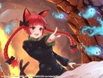 1girl :d animal_ears artist_request black_dress braid breasts cat_ears cat_tail check_artist dargo dress dutch_angle extra_ears fang fire highres hitodama kaenbyou_rin long_hair medium_breasts multiple_tails nekomata open_mouth pointing second-party_source skin_fang smile solo tail touhou twin_braids twintails two_tails very_long_hair wheelbarrow