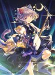 1girl :d animal_ears black_gloves black_legwear breasts brown_eyes cat_ears cat_tail copyright_request crescent_moon flower glint gloves h2so4 hair_flower hair_ornament hair_stick instrument kneehighs moon night night_sky official_art open_mouth plectrum purple_hair sengoku_saga shamisen short_hair short_sleeves sky small_breasts smile tail tassel wristband