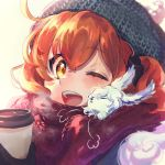 1girl ;d bangs blurry blush breath closed_eyes creature cup depth_of_field disposable_cup fate/grand_order fate_(series) fou_(fate/grand_order) fujimaru_ritsuka_(female) galibo hair_ornament hair_scrunchie hat looking_at_viewer nuzzle one_eye_closed open_mouth orange_hair portrait red_scarf scarf scrunchie shared_scarf side_ponytail simple_background smile winter_clothes yellow_eyes