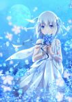 1girl blue_background blue_eyes blue_flower blue_sky bouquet bracelet dress flower full_moon holding holding_bouquet jewelry looking_at_viewer medium_hair moon night night_sky silver_hair sky sleeveless snowdreams_-lost_in_winter- solo standing white_dress xiao_yung_lin