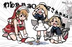 >_< 4girls all_fours alternate_costume bangs black_neckwear blonde_hair blue_sailor_collar brown_eyes brown_hair character_name closed_eyes commentary_request crying dress emphasis_lines eyewear_removed gloves hat janus_(kantai_collection) jervis_(kantai_collection) kantai_collection littorio_(kantai_collection) long_hair machinery multiple_girls off-shoulder_dress off_shoulder parted_bangs ponytail red_dress sailor_collar sailor_dress sailor_hat santa_hat scarf shinkaisei-kan short_hair short_sleeves solid_oval_eyes standing striped striped_scarf tears terrajin wavy_hair white_dress white_gloves white_headwear