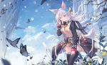 1girl animal_ears belt black_coat black_legwear blue_eyes blue_sky bow brown_skirt bug building butterfly clouds coat day floating_hair flower fox_ears fox_tail fringe_trim fuuro_(johnsonwade) hair_ornament insect long_hair long_sleeves looking_at_viewer miniskirt open_clothes open_coat original outdoors pink_bow plant pleated_skirt ribbed_sweater scarf silver_hair skirt sky smile snowflake_hair_ornament solo sweater tail thigh-highs tree_branch white_flower wind zettai_ryouiki