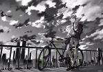 1girl absurdres backpack bag bicycle cityscape clouds commentary full_body grass ground_vehicle highres long_hair monochrome neon_genesis_evangelion railing shirt shoes shorts sky sneakers souryuu_asuka_langley standing standing_on_one_leg t-shirt