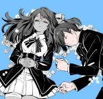 1boy 1girl bandaged_leg bandages black_jacket black_neckwear blue_background closed_eyes closed_mouth collared_shirt crying da_huang death flower forehead_scar gakuran greyscale hair_ribbon hair_spread_out hands_clasped jacket long_hair long_sleeves lying minamoto_sakura miniskirt monochrome on_back on_side own_hands_together parted_lips partially_colored pleated_skirt ribbon school_uniform shirt short_hair simple_background skirt spoilers tatsumi_koutarou underbust upper_body white_skirt zombie_land_saga