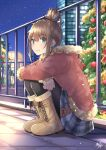1girl black_legwear blue_eyes blue_skirt blush boots brown_footwear brown_hair brown_jacket building christmas christmas_ornaments christmas_tree closed_mouth commentary_request cross-laced_footwear fur-trimmed_hood fur-trimmed_jacket fur_trim hair_bun highres hood hood_down hooded_jacket jacket lace-up_boots long_sleeves looking_away miko_fly night night_sky original outdoors pantyhose plaid plaid_skirt pleated_skirt railing sidelocks skirt sky sleeves_past_wrists smile solo squatting star_(sky) starry_sky