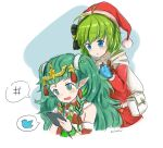 2girls artist_name belt blackma_(pagus0012) blue_eyes braid brown_gloves cellphone christmas_ornaments fire_emblem fire_emblem:_the_blazing_blade fire_emblem:_three_houses fire_emblem_heroes fur_trim gloves green_eyes green_hair hair_ornament hat highres holding holding_phone long_hair long_sleeves multiple_girls nino_(fire_emblem) open_mouth phone pointy_ears pom_pom_(clothes) red_headwear santa_costume santa_hat short_hair simple_background smartphone sothis_(fire_emblem) tiara twin_braids twitter_logo upper_body