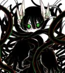1girl black_hair eyebrows glasses green_eyes highres horns juugoya_(zyugoya) limited_palette long_hair merii_(musuko_ga_kawaikute_shikatanai_mazoku_no_hahaoya) musuko_ga_kawaikute_shikatanai_mazoku_no_hahaoya pointy_ears semi-rimless_eyewear shading tentacles transformation under-rim_eyewear white_background