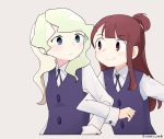 2girls blue_eyes blush brown_hair collared_shirt confused couple diana_cavendish eye_contact gyaheung happy highres kagari_atsuko little_witch_academia locked_arms long_hair looking_at_another luna_nova_school_uniform multicolored_hair multiple_girls neck_ribbon red_eyes ribbon school_uniform shirt simple_background smile two-tone_hair uniform wavy_hair white_background white_shirt yuri