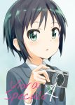 1girl :o aayh bangs black_hair blue_background blue_jacket blush camera collared_shirt commentary_request cover cover_page green_eyes green_ribbon highres holding holding_camera jacket kurosaki_honoka long_sleeves looking_at_viewer parted_lips ribbon shirt short_hair solo translation_request upper_body white_shirt yama_no_susume