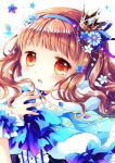 1girl blue_bow blue_capelet blue_flower blue_hairband blush bow brown_eyes brown_hair capelet center_frills commentary crescent crown flower frills fur-trimmed_capelet fur_trim hair_flower hair_ornament hairband hand_up higanbana_no_saku_yoru_ni highres kusunoki_midori long_hair looking_at_viewer mini_crown parted_lips sakurazawa_izumi solo sparkle star star_in_eye symbol_commentary symbol_in_eye tears tilted_headwear upper_body white_background white_flower wrist_cuffs