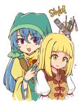 2girls :d alternate_hairstyle apron bangs blonde_hair blue_hair blunt_bangs blush commentary dress english_commentary eyebrows_visible_through_hair eyelashes green_apron hair_between_eyes hair_down haniwa_(statue) haniyasushin_keiki head_scarf holding jewelry joutouguu_mayumi juliet_sleeves long_hair long_sleeves looking_at_viewer magatama magatama_necklace multiple_girls necklace open_mouth puffy_short_sleeves puffy_sleeves shirt short_sleeves simple_background smile touhou upper_body violet_eyes white_background white_shirt wool_(miwol) yellow_dress yellow_eyes