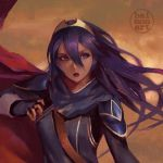 1girl armor artist_logo baimon bangs blue_eyes blue_gloves blue_hair brown_background cape fingerless_gloves fire_emblem fire_emblem_awakening gloves gold_trim long_hair long_sleeves looking_to_the_side lucina_(fire_emblem) open_mouth red_cape shiny shiny_hair shoulder_armor sidelocks simple_background solo tiara upper_body