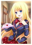1girl ameba_(website) artist_request blonde_hair blue_eyes blush bow breasts chloe_lemaire cute door envelope girlfriend_(kari) long_hair looking_at_viewer moe red_bow school_uniform skirt wax_seal