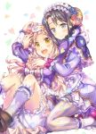 2girls :d bang_dream! bangs black_hair blonde_hair bloomers blue_eyes blue_flower blue_rose blush bow capelet center_frills commentary_request dress flower frilled_capelet frilled_hairband frilled_legwear frilled_sleeves frills fur-trimmed_capelet fur_trim hair_flower hair_ornament hairband hand_on_another's_chest hand_on_another's_head hand_on_own_head heart highres horns hug hug_from_behind kneehighs knees_up long_hair long_sleeves looking_at_viewer mask mask_on_head multiple_girls okusawa_misaki open_mouth petals plaid plaid_legwear pom_pom_(clothes) purple_bow purple_dress red_flower red_rose rose rose_hair_ornament sheep_horns shoes sitting sleep_mask smile striped striped_legwear takitarou tsurumaki_kokoro underwear vertical-striped_legwear vertical_stripes white_legwear wrist_bow