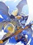1boy abs angel angel_wings angemon blindfold blonde_hair blue_sky cane clenched_hand clouds collarbone covering_eyes covering_face digimon feathered_wings gloves highres holding holding_stick holding_weapon long_hair male_focus midair midriff multiple_wings muscle rb2 shoes sky solo stick wand weapon white_wings wings