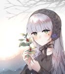 1girl alternate_costume black_hairband black_sweater blush day facepaint girls_frontline green_eyes hairband highres hk416_(girls_frontline) holding_mistletoe iron_cross jewelry lolita_hairband long_hair looking_at_viewer outdoors ring silver_hair smile solo striped sweater teardrop tree upper_body user_uyfr2275 vertical_stripes winter winter_clothes