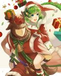 1boy 1girl antlers aym_(ash3ash3ash) bell blue_eyes bow box brown_eyes brown_gloves brown_hair carrying christmas_ornaments closed_mouth fire_emblem fire_emblem:_the_blazing_blade fire_emblem_heroes fur_trim gift gift_box gloves green_hair hat holding jaffar_(fire_emblem) long_sleeves nino_(fire_emblem) open_mouth piggyback pom_pom_(clothes) red_headwear reindeer_antlers santa_costume santa_hat short_hair