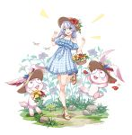 1girl alternate_hairstyle artist_name bangs bare_legs bare_shoulders bell blue_eyes blush_stickers bracelet bug character_request commentary_request creature dated dragonfly dress eyebrows_visible_through_hair flat_chest flower_basket frilled_dress frills frog full_body grass hair_between_eyes hat hat_removed headwear_removed honkai_(series) honkai_impact_3rd insect jewelry lace lace-trimmed_legwear low_twintails off-shoulder_dress off_shoulder plaid plaid_dress ribbon-trimmed_dress rock sandals shadow silver_hair solo_focus standing standing_on_one_leg sun_hat sundress tachi-e theresa_apocalypse twintails zhandou_greymon