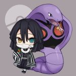 1boy arbok bangs belt belt_buckle black_hair black_jacket black_legwear black_pants blue_eyes brown_eyes buckle covered_mouth crossover dusk_ball eyebrows_visible_through_hair gen_1_pokemon grey_background hair_between_eyes heterochromia holding holding_poke_ball iguro_obanai jacket kimetsu_no_yaiba long_sleeves male_focus maodouzi open_clothes open_mouth pants poke_ball poke_ball_symbol pokemon pokemon_(creature) puffy_pants sleeves_past_fingers sleeves_past_wrists snake tongue tongue_out white_belt white_snake wide_sleeves