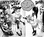 2018 2girls bare_shoulders boots demon_horns demon_tail doorway ghost gloves greyscale hair_ornament hairclip halloween halloween_costume hana_(mieruko-chan) happy_halloween hat highres horns izumi_(toubun_kata) kneehighs long_hair mieruko-chan miniskirt monochrome monster multiple_girls official_art open_mouth party_hat pleated_skirt school_uniform short_hair skirt sleeves_past_wrists smile speech_bubble sweater tail trick_or_treat twitter_username witch_costume witch_hat yotsuya_miko