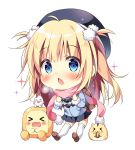 >_< 1girl :3 :o ^_^ ahoge backpack bag bangs beret black_headwear black_skirt blonde_hair blue_coat blue_eyes blush breath brown_footwear chibi clenched_hands closed_eyes commentary_request eating hair_bobbles hair_ornament hamster hat long_hair long_sleeves looking_at_viewer miniskirt original pan_(mimi) pink_scarf pom_pom_(clothes) scarf seed shoes simple_background skirt sparkle sunflower_seed ten-chan_(pan_(mimi)) thigh-highs two_side_up white_background white_legwear winter_clothes