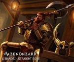 1boy armor axe beard chair company_name copyright_name eyepatch facial_hair gold_armor hand_up headwear_removed helmet helmet_removed holding_polearm horned_helmet indoors lancergrow lantern looking_at_viewer male_focus official_art poleaxe redhead sitting solo watermark zenonzard