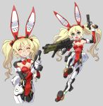 1girl animal_ears assault_rifle blonde_hair blue_eyes breasts bunny_girl bunny_tail bunnysuit commentary_request detached_collar fake_animal_ears gun hairband handgun highres holding holding_weapon katahira_masashi leotard mecha_musume multiple_views original pistol rabbit_ears red_leotard rifle small_breasts strapless strapless_leotard tail twintails weapon wrist_cuffs