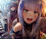 3girls :o artist_name bag bangs blunt_bangs boots brown_eyes brown_hair close-up commentary door eyebrows_visible_through_hair facial_mark fisheye flower foreshortening girls_frontline green_eyes grey_coat grey_hair hair_flower hair_ornament hanbenp handbag hk416_(girls_frontline) holding holding_bag holding_purse lapel_pin long_hair long_sleeves looking_at_viewer multiple_girls one_side_up open_mouth outdoors pantyhose peephole plaid_coat plaid_jacket pov scar scar_across_eye scarf shopping_bag siblings silver_hair sisters twins ump45_(girls_frontline) ump9_(girls_frontline) upper_teeth waving white_coat yellow_eyes