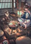 1boy all_fours bangs brown_hair cabbage carrot commentary_request cupboard cushion eating fire fish food hanten_(clothes) highres holding_skewer hotpot indian_style indoors irori_(hearth) japanese_clothes jizaikagi katana kettle kimono lantern looking_at_another male_focus meat mushroom nabe original plate pot raccoon sheath sheathed short_hair sitting skewer spring_onion steam sword tofu vegetable weapon wide_sleeves window wood yellow_eyes zabuton zoff_(daria)