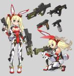 1girl animal_ears assault_rifle blonde_hair blue_eyes breasts bunny_girl bunny_tail bunnysuit detached_collar fake_animal_ears gun hairband handgun highres holding holding_weapon katahira_masashi leotard mecha_musume multiple_views original pistol rabbit_ears red_leotard rifle small_breasts strapless strapless_leotard swiss_army_knife tail twintails weapon wrist_cuffs