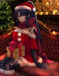 1girl android blue_hair box christmas christmas_tree dress fate/grand_order fate_(series) fur-trimmed_dress fur-trimmed_hat gift gift_box hat highres indoors katou_danzou_(fate/grand_order) long_hair looking_at_viewer ponytail red_dress red_scarf robot_joints santa_costume santa_dress santa_hat scarf sebire sitting smile solo yellow_eyes