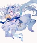 azur_lane blue_flower blue_ribbon bouquet bunny_hair_ornament dress floating_hair flower hair_ornament highres holding holding_bouquet laffey_(azur_lane) laffey_(white_rabbit's_oath)_(azur_lane) ribbon sleeveless sleeveless_dress strapless strapless_dress wedding_dress white_dress yaekn
