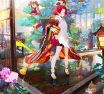 apron architecture benienma_(fate/grand_order) bird bridge east_asian_architecture fate/grand_order fate_(series) fionn_mac_cumhaill_(fate/grand_order) fish hat japanese_clothes kimono kiyohime_(fate/grand_order) lamp mash_kyrielight namie-kun ohitsu platform_footwear red_eyes redhead rice_spoon sparrow tomoe_gozen_(fate/grand_order) tree wide_sleeves