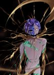 1other androgynous black_background blue_hair broken crack cracked crying crying_with_eyes_open crystal crystal_hair crystal_shard dripping gold golden_arms highres houseki_no_kuni ko_ryou leaking liquid melting missing_eye molten_metal open_mouth phosphophyllite phosphophyllite_(ll) shards short_hair simple_background solo spikes spoilers tears