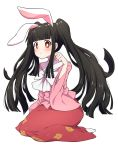 1girl alternate_hairstyle animal_ears bangs black_hair blunt_bangs blush bow bowtie commentary_request eyebrows_visible_through_hair hand_up highres houraisan_kaguya kemonomimi_mode leaf_print long_hair long_skirt long_sleeves looking_at_viewer paw_pose pink_shirt rabbit_ears red_eyes red_skirt shirt sidelocks simple_background sitting skirt socks solo touhou tsukimirin twintails very_long_hair wariza white_background white_bow white_legwear white_neckwear wide_sleeves