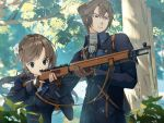 1boy 1girl aiming bolt_action braid brown_hair fingerless_gloves flower french_braid gloves gun hair_flower hair_ornament hand_on_another's_shoulder long_hair military military_uniform original outdoors ponytail rifle short_hair sling soldier training tree uniform weapon yoshitake