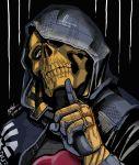 black_background blue_eyes death_stranding h1p-h0p8888 hand_up highres hood index_finger_raised simple_background skull_mask solo teeth upper_body