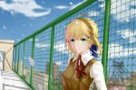 1girl absurdres ahoge alternate_costume artoria_pendragon_(all) blonde_hair blue_ribbon blue_sky blurry braid brown_vest chain-link_fence cherry_blossoms clouds depth_of_field er_ci_gudu excalibur fate/grand_order fate_(series) fence french_braid green_eyes hair_ornament hair_ribbon highres homurahara_academy_uniform looking_at_viewer neck_ribbon ribbon saber shadow short_hair sky skyline smile solo sword_hilt uniform vest