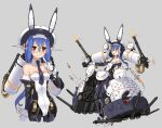 1girl android animal_ears blue_hair blue_neckwear breasts bunny_girl bunnysuit commentary_request detached_collar full_body glasses gun headgear high_heels highres katahira_masashi leotard long_hair missile multiple_views necktie original rabbit_ears red_eyes small_breasts strapless strapless_leotard weapon white_leotard wrist_cuffs