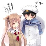 1boy 1girl admiral_(kantai_collection) blonde_hair blue_scarf blush brown_hair cardigan closed_eyes commentary_request eyebrows_visible_through_hair faceless faceless_male hair_between_eyes hair_flaps hair_ribbon hat highres hirune_(konekonelkk) kantai_collection long_hair military military_uniform murasame_(kantai_collection) neckerchief open_mouth peaked_cap red_neckwear ribbon sailor_collar scarf short_hair simple_background translation_request twintails uniform very_long_hair white_background yellow_cardigan