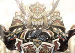 cape gundam hands_on_hilt head_wings king_gundam_ii light miwa_shirou no_humans pauldrons robot sd_gundam shield sword weapon