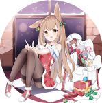1girl :d absurdres animal_ear_fluff animal_ears bangs bare_shoulders bell blush bow box brown_eyes brown_hair brown_legwear candy candy_cane christmas christmas_ornaments commentary_request dress eyebrows_behind_hair food fur-trimmed_dress fur-trimmed_hat fur_trim fuyuki030 gift gift_box green_bow hair_bell hair_ornament hat highres index_finger_raised jingle_bell knees_up long_hair mini_hat mini_santa_hat off-shoulder_dress off_shoulder open_mouth original panties panties_under_pantyhose pantyhose plaid plaid_bow red_dress red_footwear red_headwear red_ribbon ribbon sack santa_costume santa_hat sitting smile snow snowflake_print snowing solo stuffed_animal stuffed_toy teddy_bear thighband_pantyhose underwear very_long_hair window
