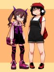 2girls adapted_costume backpack bag bare_legs black_dress black_hair black_overalls brown_hair cabbie_hat capelet contemporary dilated_pupils dress garter_straps hair_between_eyes hairband hands_in_pockets hat high_tops himekaidou_hatate long_sleeves looking_at_viewer multicolored multicolored_clothes multicolored_legwear multiple_girls overall_shorts overalls pigeon-toed pink_footwear platform_footwear pom_pom_(clothes) purple_hairband purple_neckwear red_backpack red_footwear red_headwear shameimaru_aya shimizu_pem shirt shoes short_hair short_hair_with_long_locks smile sneakers t-shirt thigh-highs touhou v-shaped_eyebrows white_shirt