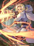 armored_boots blonde_hair blue_eyes boots breastplate brown_gloves capelet catherine_(fire_emblem) cowboy_shot day electricity fire_emblem fire_emblem:_three_houses fire_emblem_cipher forest gloves glowing glowing_weapon grass grin hair_ribbon leather leather_gloves lips nature official_art outdoors parted_lips ponytail ribbon short_hair smile sword teeth tvzyon waist_cape watermark weapon