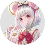 /\/\/\ 1girl :< :o animal animal_ears bangs blush bow cheese collared_shirt commentary_request eating eyebrows_visible_through_hair food food_on_face granblue_fantasy grey_hair heart holding holding_animal holding_food mouse mouse_ears o_o parted_lips red_bow red_eyes shirt solo striped striped_bow triangle_mouth vikala_(granblue_fantasy) wang_man white_shirt